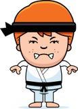 Angry Cartoon Karate Kid Royalty Free Stock Photography