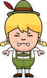 Angry Cartoon Lederhosen Girl. A cartoon illustration of a German girl in lederhosen looking angry Royalty Free Stock Photos
