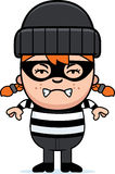 Angry Cartoon Little Burglar. A cartoon illustration of a little burglar looking angry Stock Image