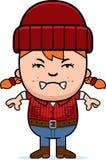 Angry Cartoon Little Lumberjack Stock Photo