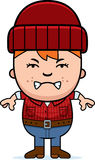 Angry Cartoon Little Lumberjack Royalty Free Stock Image