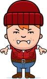 Angry Cartoon Little Lumberjack Royalty Free Stock Image