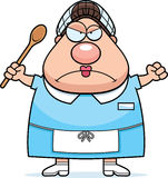 Angry Cartoon Lunch Lady stock illustration
