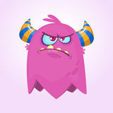 Angry cartoon monster. Angry flying monster emotion. Halloween vector illustration. Royalty Free Stock Images