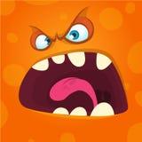Angry cartoon monster face. Halloween mask avatar for print. Angry cartoon monster face. Halloween mask avatar for print stock illustration