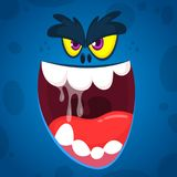 Angry cartoon monster face illustration. Vector Halloween blue zombie monster. Big set of cartoon monster faces. Angry cartoon monster face illustration. Vector stock illustration