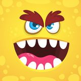 Angry cartoon monster face. Vector Halloween orange monster avatar. Design for print, children book, party decoration. Royalty Free Stock Photos