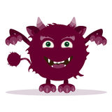 Angry cartoon monster. Halloween  horned monster Royalty Free Stock Photo