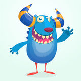 Angry cartoon monster. Halloween vector blue and horned monster Stock Image