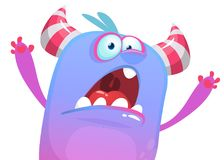 Free Angry Cartoon Monster Icon Trying To Scare. Vector Halloween Illustration. Royalty Free Stock Images - 123036259