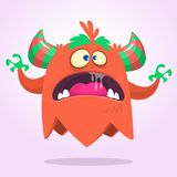 Angry cartoon monster pink and horned. Vector illustration. Stock Photos