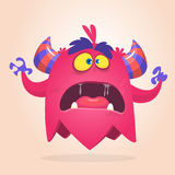 Angry cartoon monster pink and horned. Vector illustration. Stock Images