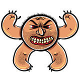Angry cartoon monster with stubble, vector illustration. Royalty Free Stock Image
