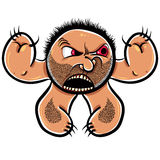 Angry cartoon monster with stubble, vector illustration. Stock Image