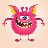 Angry cartoon monster. Vector  furry pink monster character on tiny legs and big ears. Halloween design. Angry cartoon monster. Vector  furry pink monster Stock Image