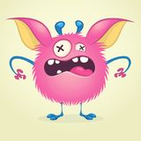 Angry cartoon monster. Vector  furry pink monster character on tiny legs and big ears. Halloween design. For print, party decoration, sticker or children book Royalty Free Stock Image