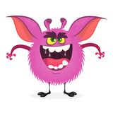 Angry cartoon monster. Vector  furry pink monster character on tiny legs and big ears. Halloween design. For print, party decoration, sticker or children book Royalty Free Stock Photography