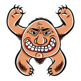 Angry cartoon monster, vector illustration. Stock Photo