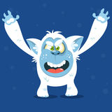 Angry cartoon monster yeti. Vector Halloween bigfoot character. Stock Photography