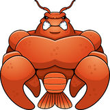 Angry Cartoon Muscular Crawfish Stock Photo