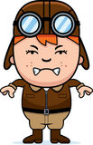 Angry Cartoon Pilot. A cartoon illustration of a child pilot looking angry Stock Images