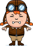 Angry Cartoon Pilot. A cartoon illustration of a child pilot looking angry Stock Photos