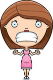 Angry Cartoon Pregnant Woman Royalty Free Stock Photography