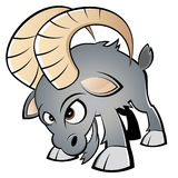 Angry cartoon ram. Cartoon illustration of angry horned ram, isolated on white background Stock Images