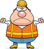Angry Cartoon Road Worker. A cartoon illustration of a road worker looking angry Stock Photo