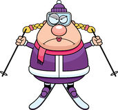 Angry Cartoon Skier Stock Photo