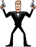 Angry Cartoon Spy in Tuxedo Royalty Free Stock Image