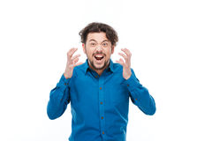 Angry casual man screaming Royalty Free Stock Photo