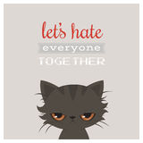 Angry cat cartoon. Cute grumpy cat, vector. Grumpy cat greeting card. Royalty Free Stock Photography