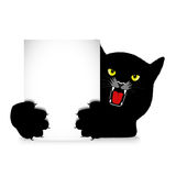 Angry cat holds a banner Stock Photo