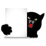 Angry cat holds a banner Royalty Free Stock Photos