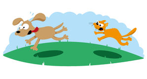 Angry Cat Hunting a Dog. A vector cartoon representing an angry cat hunting a scared dog Stock Photo