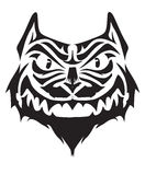 Angry cat tattoo design. Black angry cat tattoo design Stock Photography