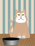 Angry Cat - Vector. Angry Cat sitting next to his food dish - fluffy is angry Royalty Free Stock Photo