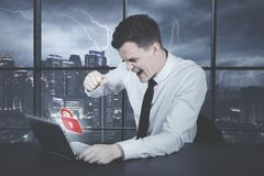 Angry caucasian businessman over hacked account Royalty Free Stock Images