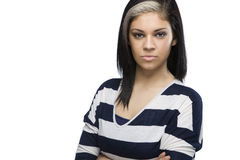 Angry Caucasian Girl with Arms Crossed. A caucasian woman looks angry with her arms crossed stock images