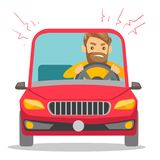 Angry caucasian man in car stuck in traffic jam. Angry caucasian white man in a car stuck in traffic jam. Irritated young hipster man with beard driving a car vector illustration