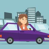 Angry caucasian woman in car stuck in traffic jam. Royalty Free Stock Photos