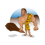 Angry caveman character with big muscles Stock Photography