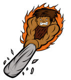 Angry Caveman Hitting with Club Weapon Stock Image