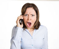 Angry on cellphone Royalty Free Stock Image