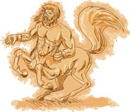 Angry centaur rearing up Stock Photo