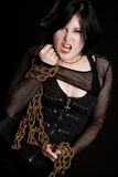 Angry Chains Girl Royalty Free Stock Photography