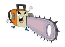 Angry chainsaw cartoon Royalty Free Stock Images