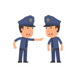 Angry Character Officer abuses and accuses his companion Royalty Free Stock Image