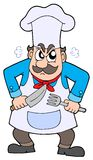 Angry chef with knife and fork stock illustration